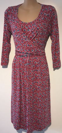 JOJO MAMAN BEBE RED LEAF PRINT MATERNITY & NURSING DRESS NEW SIZE S 10-12